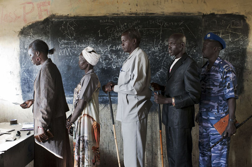 The first day of the South Sudanese Referendum was on January 9th 2011. Bentiu inhabitants in Unity State stand in line at a polling station before voting.